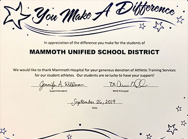 Mammoth Hospital was recognized at the recent Mammoth Unified School District Board Meeting